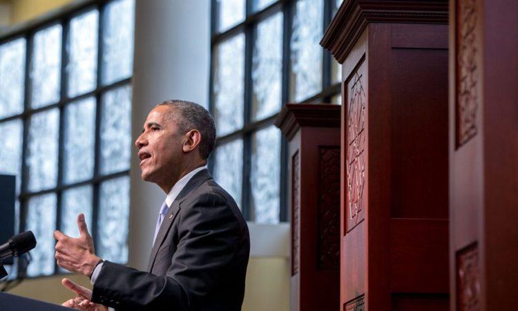 Pidato Presiden di Perkumpulan Umat Islam Baltimore (State Dept. / AP Images)