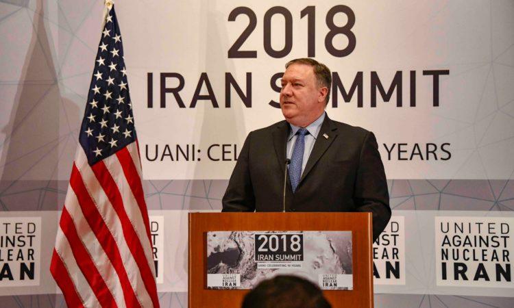 Menteri Luar Negeri AS, Michael R. Pompeo, menyampaikan pidatonyanya di United Against Nuclear Iran Summit di New York City pada 25 September 2018. (State Department)